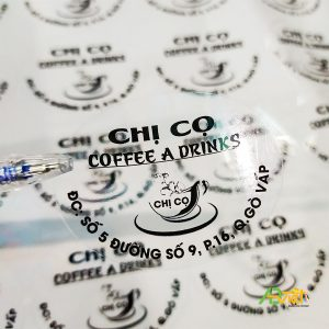 Decal trong dán ly cà phê
